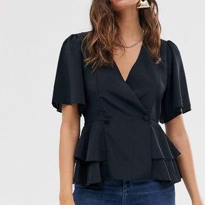ASOS DESIGN Tux Top With Flutter Sleeve